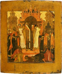 August 1, 2015 </br>The Procession with the Holy Relics of the Precious and Life-Giving Cross of the Lord; the Seven Holy Martyred Maccabees, Their Mother Solome, and Their Teacher Eleazar [Dormition Fast]